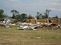 Wadena, Minnesota, Tornado hit the day before this picture was taken, unbelievable damage. This was their school. 